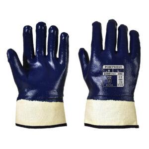 Rękawice powlekane nitrylem z bezpiecznym mankietem