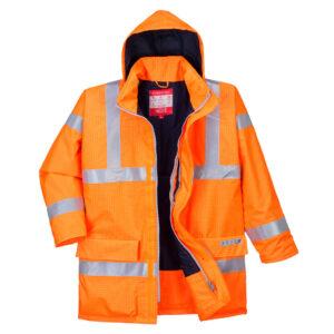 Wodoodporna kurtka ostrzegawcza trudnopalna i antystatyczna Bizflame Rain